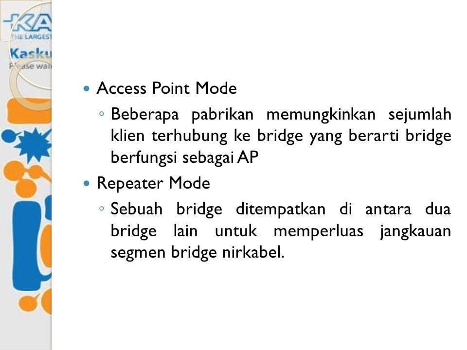 Access Point Mode ◦ Beberapa pabrikan memungkinkan sejumlah klien terhubung ke bridge yang berarti bridge berfungsi sebagai AP Repeater Mode ◦ Sebuah