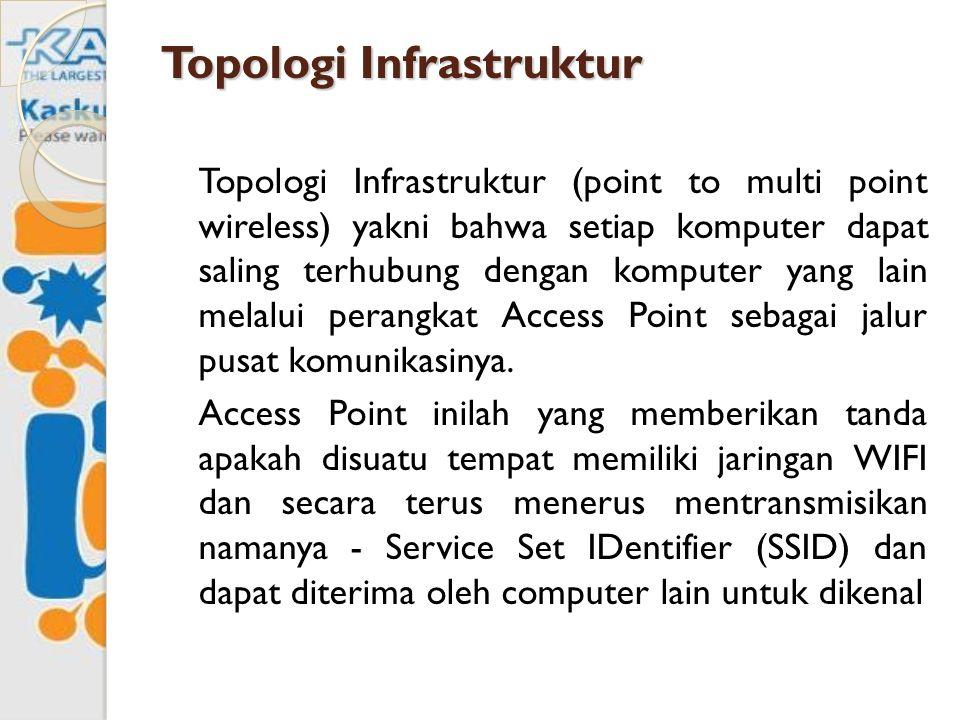 Topologi Infrastruktur Topologi Infrastruktur (point to multi point wireless) yakni bahwa setiap komputer dapat saling terhubung dengan komputer yang