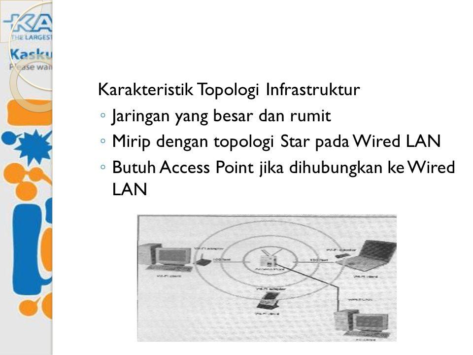 Karakteristik Topologi Infrastruktur ◦ Jaringan yang besar dan rumit ◦ Mirip dengan topologi Star pada Wired LAN ◦ Butuh Access Point jika dihubungkan