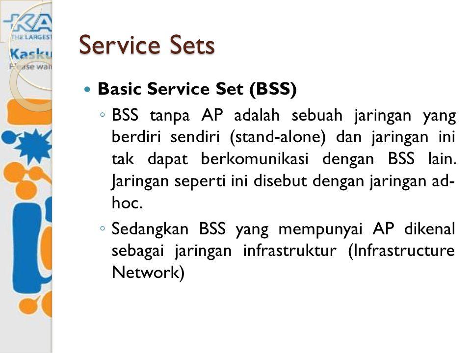 Service Sets Basic Service Set (BSS) ◦ BSS tanpa AP adalah sebuah jaringan yang berdiri sendiri (stand-alone) dan jaringan ini tak dapat berkomunikasi