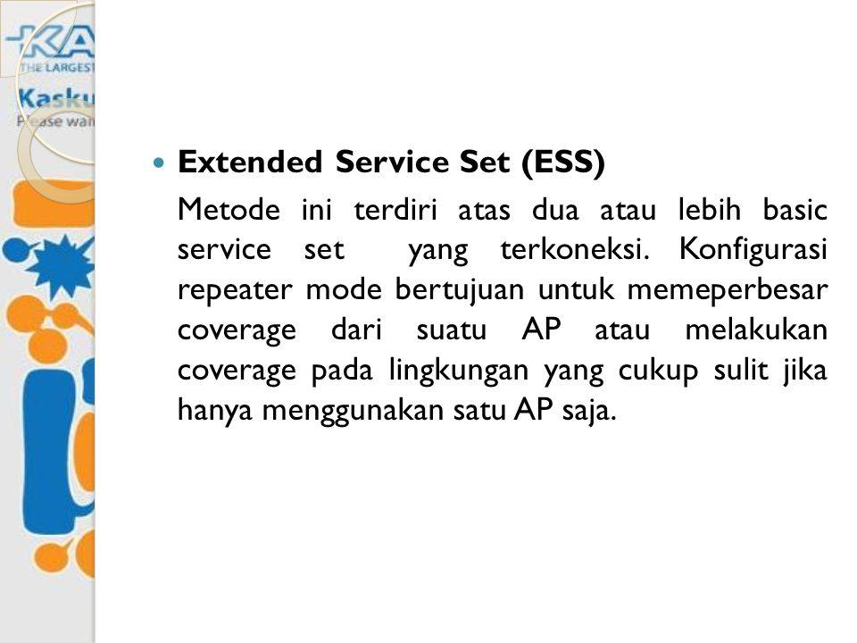 Extended Service Set (ESS) Metode ini terdiri atas dua atau lebih basic service set yang terkoneksi. Konfigurasi repeater mode bertujuan untuk memeper