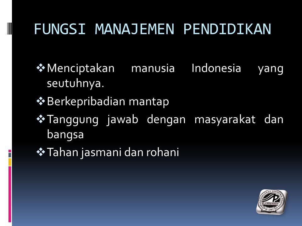 FUNGSI MANAJEMEN PENDIDIKAN  Menciptakan manusia Indonesia yang seutuhnya.  Berkepribadian mantap  Tanggung jawab dengan masyarakat dan bangsa  Ta