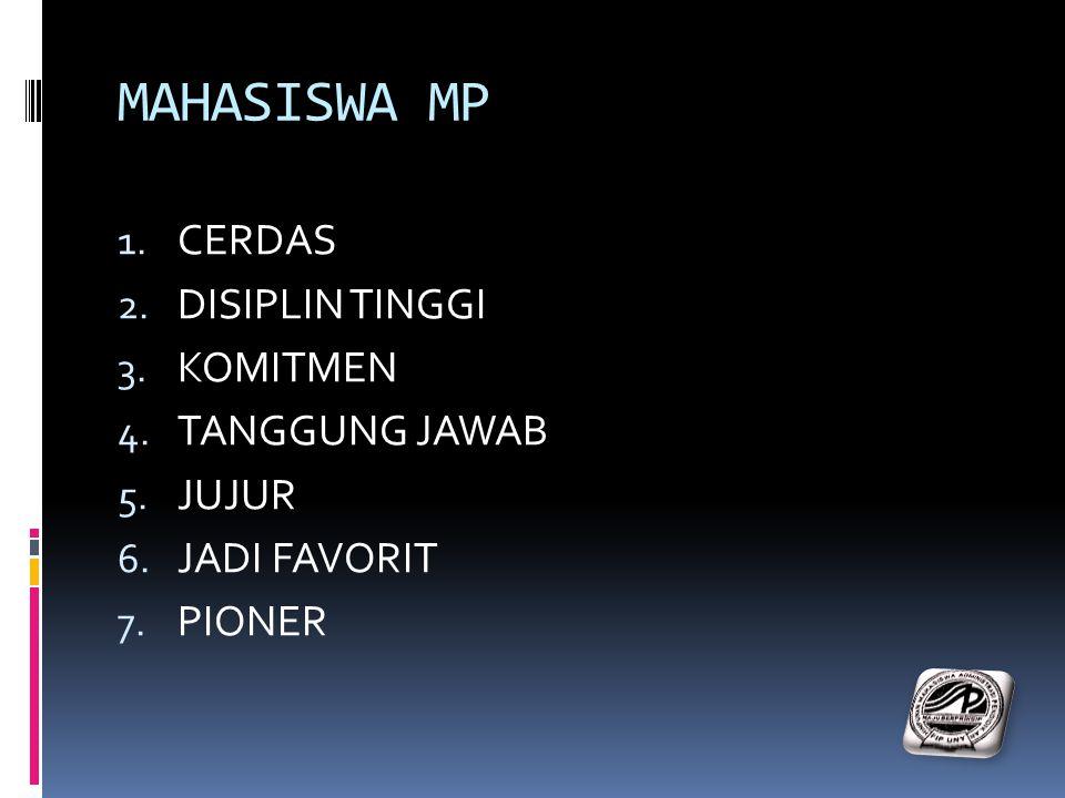 MAHASISWA MP 1. CERDAS 2. DISIPLIN TINGGI 3. KOMITMEN 4. TANGGUNG JAWAB 5. JUJUR 6. JADI FAVORIT 7. PIONER