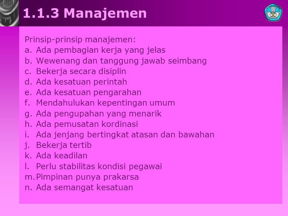 1.1.3 Manajemen Prinsip-prinsip manajemen: a.Ada pembagian kerja yang jelas b.Wewenang dan tanggung jawab seimbang c.Bekerja secara disiplin d.Ada kes