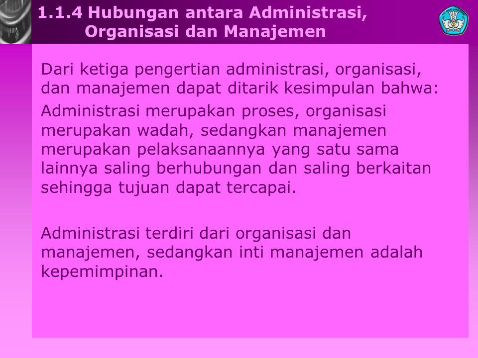 1.1.4 Hubungan antara Administrasi, Organisasi dan Manajemen Dari ketiga pengertian administrasi, organisasi, dan manajemen dapat ditarik kesimpulan b