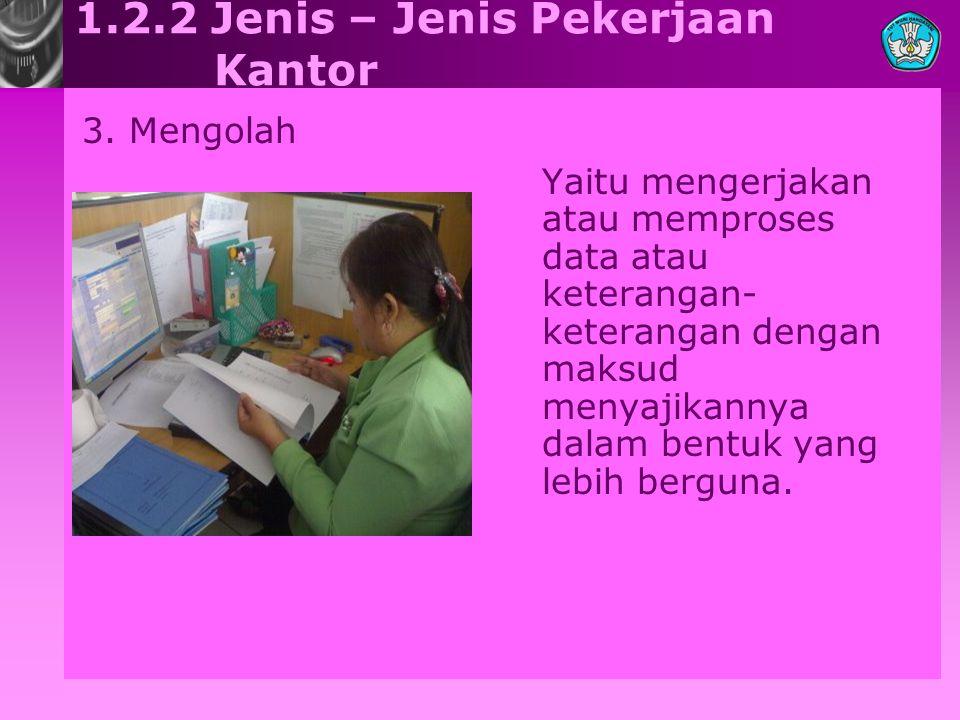 1.2.2 Jenis – Jenis Pekerjaan Kantor Yaitu mengerjakan atau memproses data atau keterangan- keterangan dengan maksud menyajikannya dalam bentuk yang l