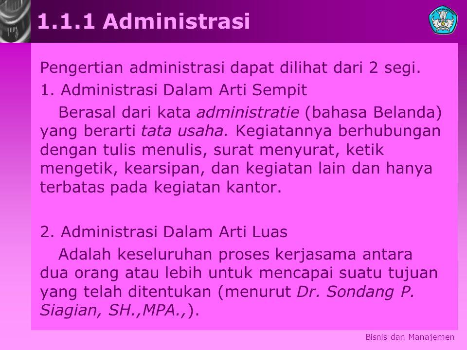 Bisnis dan Manajemen 1.1.1 Administrasi Pengertian administrasi dapat dilihat dari 2 segi. 1. Administrasi Dalam Arti Sempit Berasal dari kata adminis