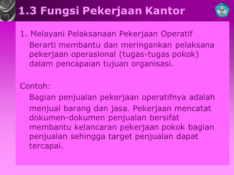 1.3 Fungsi Pekerjaan Kantor 1. Melayani Pelaksanaan Pekerjaan Operatif Berarti membantu dan meringankan pelaksana pekerjaan operasional (tugas-tugas p