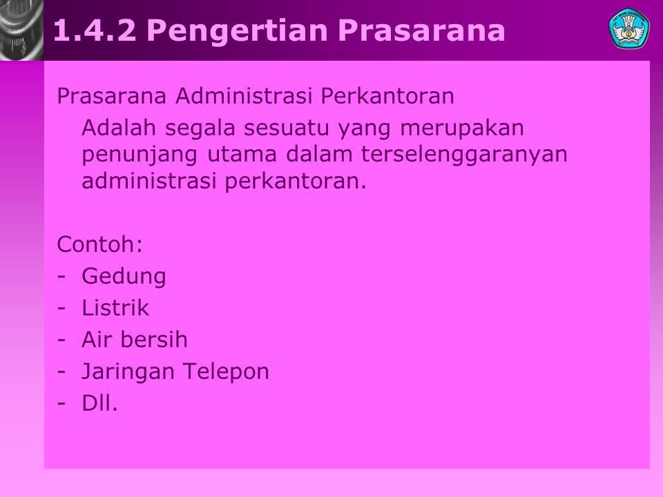 1.4.2 Pengertian Prasarana Prasarana Administrasi Perkantoran Adalah segala sesuatu yang merupakan penunjang utama dalam terselenggaranyan administras