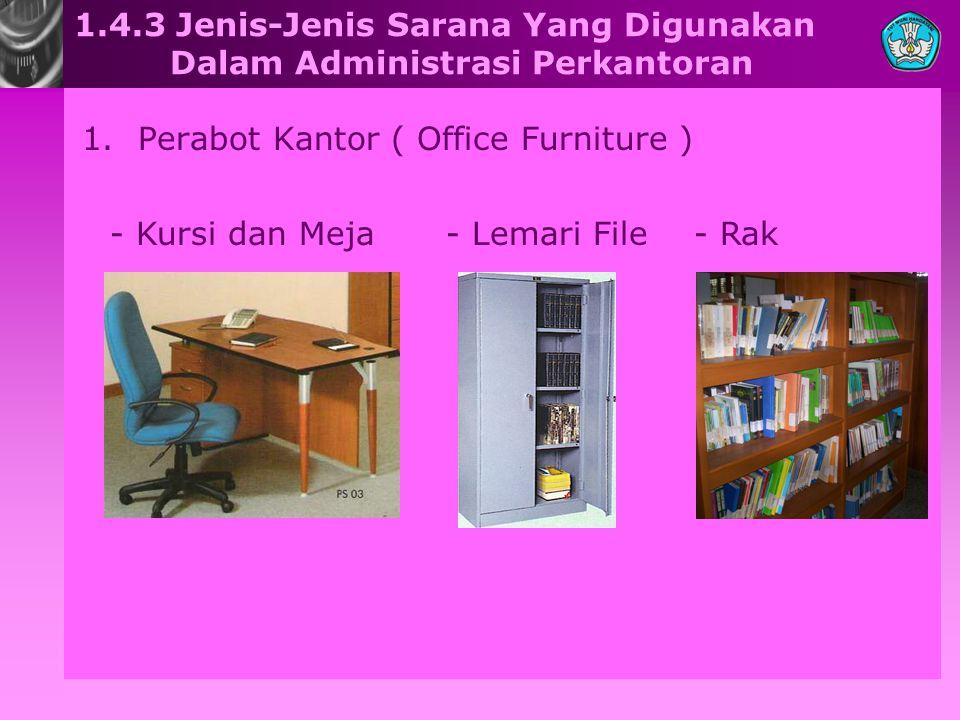 1.4.3 Jenis-Jenis Sarana Yang Digunakan Dalam Administrasi Perkantoran 1.Perabot Kantor ( Office Furniture ) - Kursi dan Meja- Rak- Lemari File
