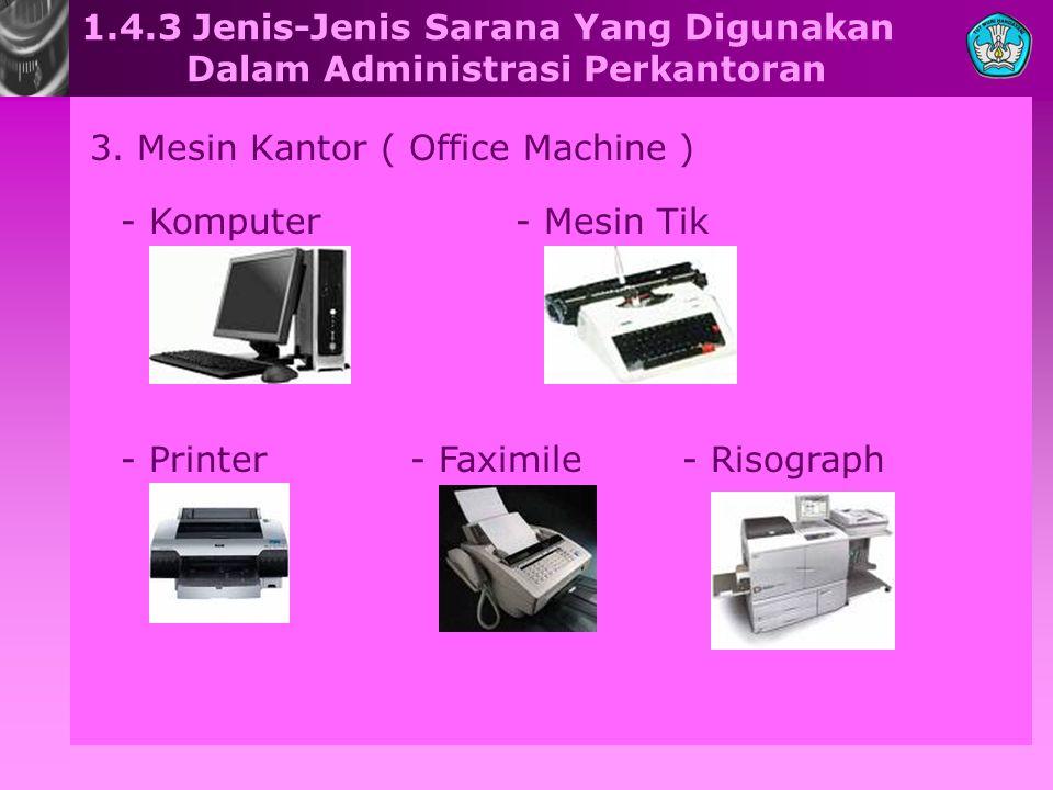 1.4.3 Jenis-Jenis Sarana Yang Digunakan Dalam Administrasi Perkantoran 3. Mesin Kantor ( Office Machine ) - Komputer- Mesin Tik - Printer- Faximile- R