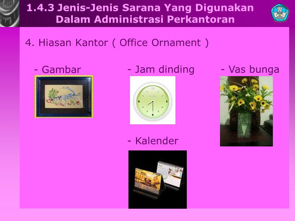 1.4.3 Jenis-Jenis Sarana Yang Digunakan Dalam Administrasi Perkantoran 4. Hiasan Kantor ( Office Ornament ) - Gambar - Jam dinding- Vas bunga - Kalend