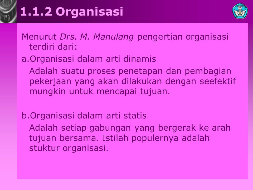 1.1.2 Organisasi Menurut Drs. M. Manulang pengertian organisasi terdiri dari: a.Organisasi dalam arti dinamis Adalah suatu proses penetapan dan pembag