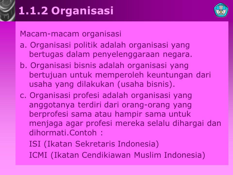 1.1.2 Organisasi Macam-macam organisasi a. Organisasi politik adalah organisasi yang bertugas dalam penyelenggaraan negara. b. Organisasi bisnis adala