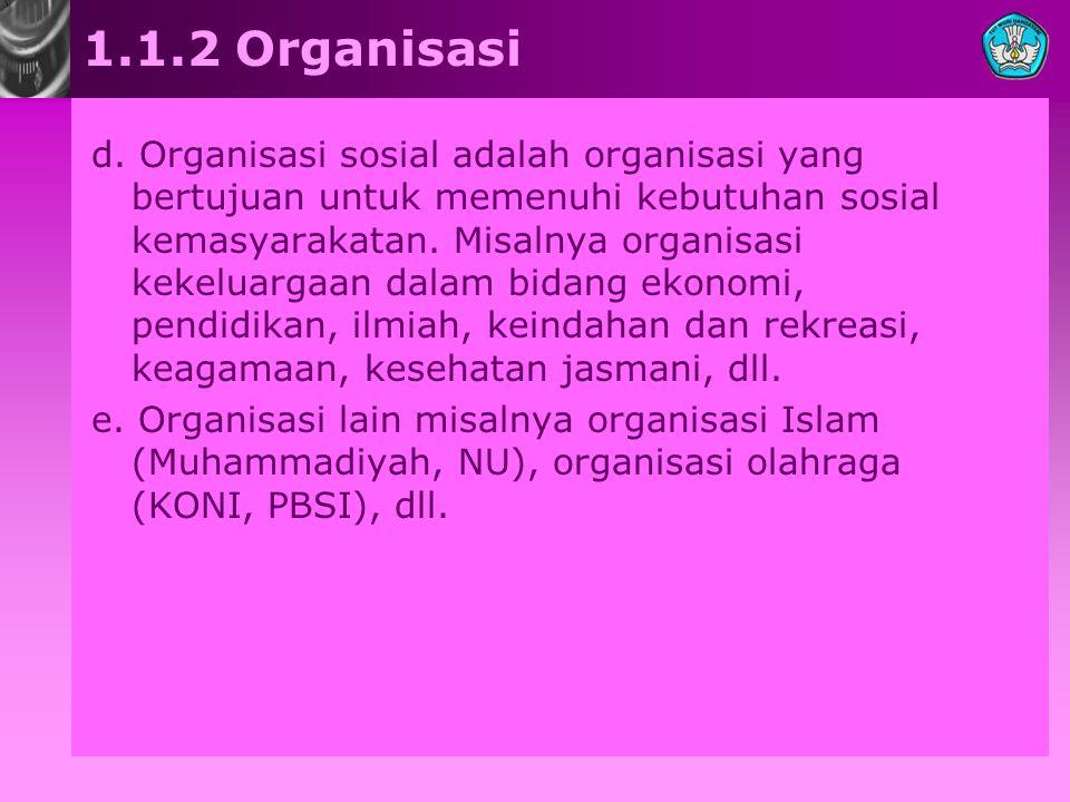 1.1.2 Organisasi d. Organisasi sosial adalah organisasi yang bertujuan untuk memenuhi kebutuhan sosial kemasyarakatan. Misalnya organisasi kekeluargaa