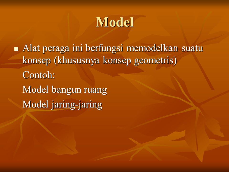 Model Alat peraga ini berfungsi memodelkan suatu konsep (khususnya konsep geometris) Alat peraga ini berfungsi memodelkan suatu konsep (khususnya kons