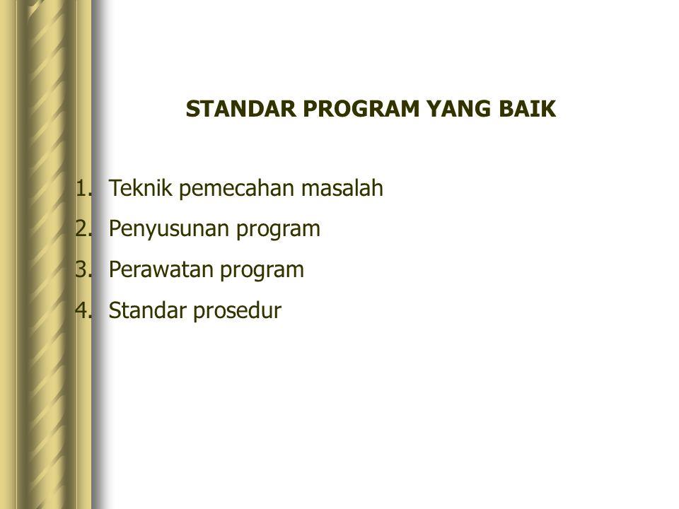 STANDAR PROGRAM YANG BAIK 1.Teknik pemecahan masalah 2.Penyusunan program 3.Perawatan program 4.Standar prosedur