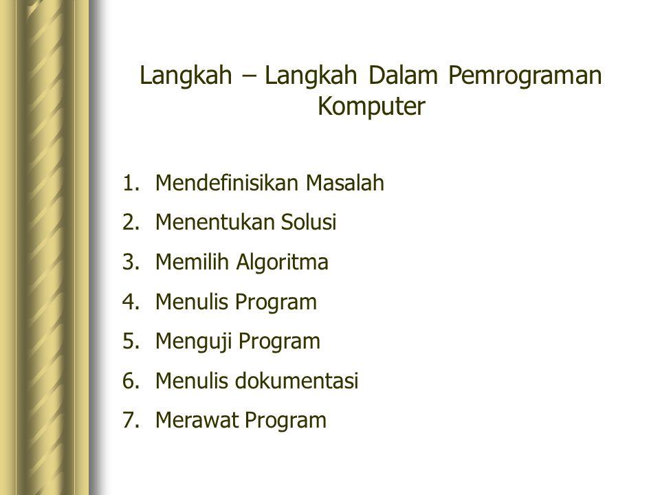 Langkah – Langkah Dalam Pemrograman Komputer 1.Mendefinisikan Masalah 2.Menentukan Solusi 3.Memilih Algoritma 4.Menulis Program 5.Menguji Program 6.Menulis dokumentasi 7.Merawat Program
