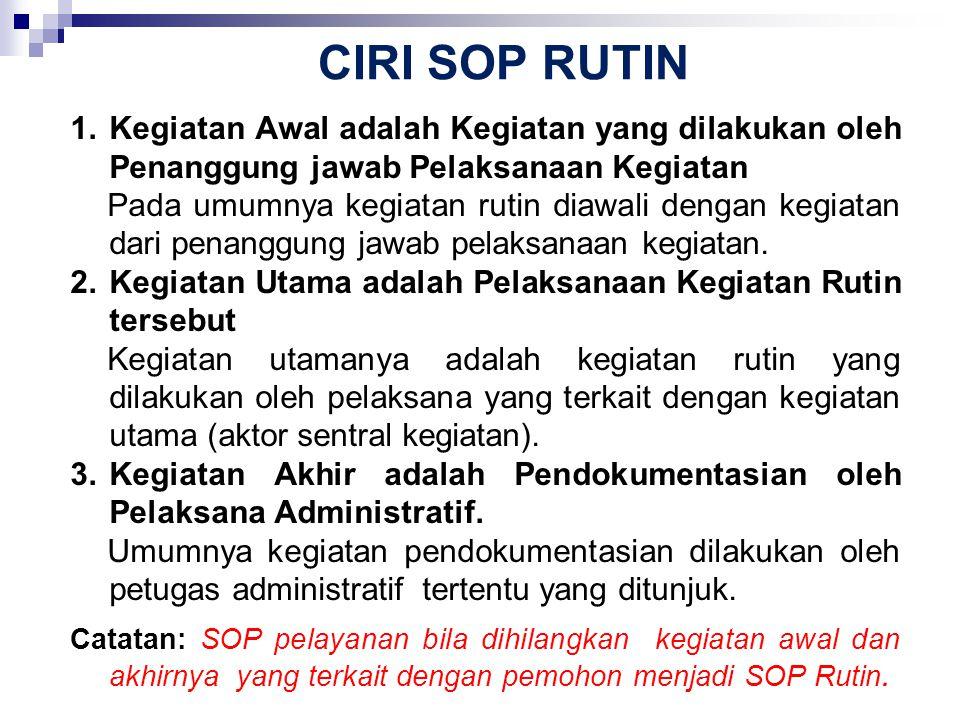 CIRI SOP RUTIN 1.Kegiatan Awal adalah Kegiatan yang dilakukan oleh Penanggung jawab Pelaksanaan Kegiatan Pada umumnya kegiatan rutin diawali dengan ke
