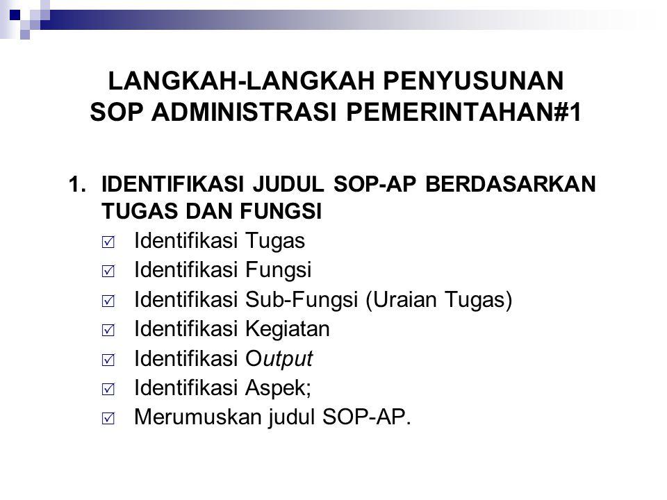 LANGKAH-LANGKAH PENYUSUNAN SOP ADMINISTRASI PEMERINTAHAN#1 1.IDENTIFIKASI JUDUL SOP-AP BERDASARKAN TUGAS DAN FUNGSI  Identifikasi Tugas  Identifikas