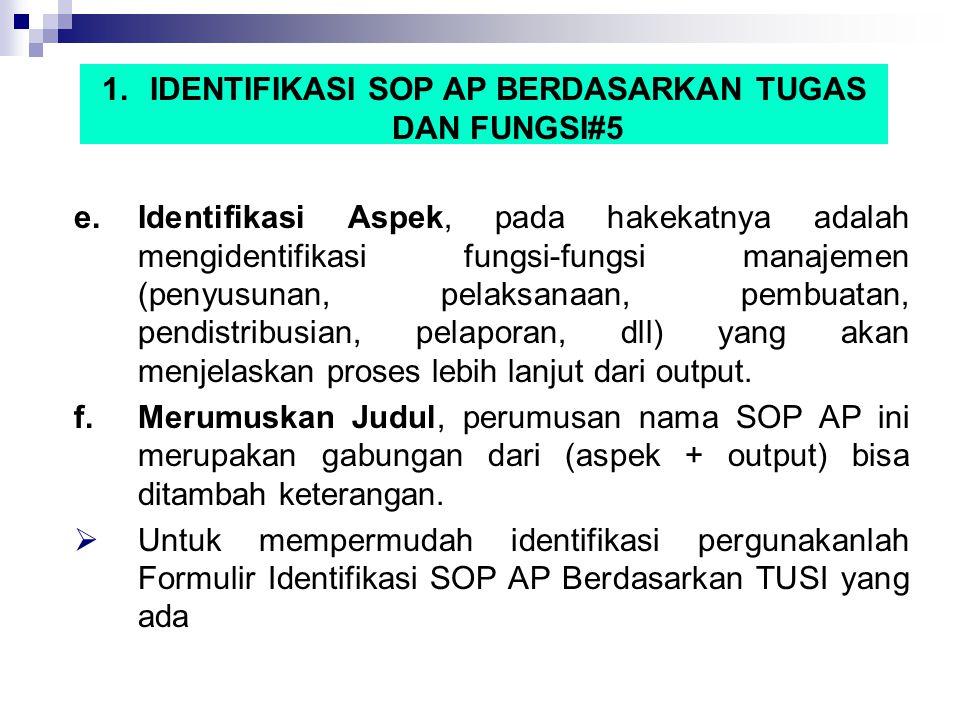 1.IDENTIFIKASI SOP AP BERDASARKAN TUGAS DAN FUNGSI#5 e.Identifikasi Aspek, pada hakekatnya adalah mengidentifikasi fungsi-fungsi manajemen (penyusunan