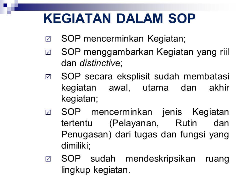 SOP DAN TUGAS-FUNGSI  SOP mencerminkan jenis Kegiatan tertentu (Pelayanan, Rutin dan Penugasan) dari tugas dan fungsi yang dimiliki;  Struktur Umum Tugas dan Fungsi Instansi Pemerintah: 1.