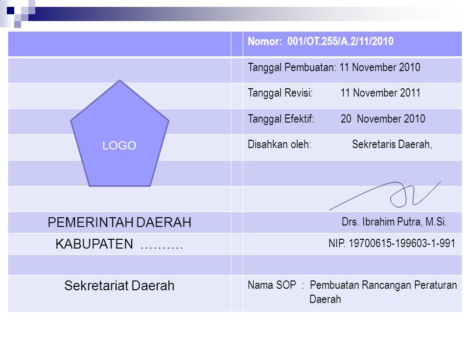 Nomor: 001/OT.255/A.2/11/2010 Tanggal Pembuatan: 11 November 2010 Tanggal Revisi: 11 November 2011 Tanggal Efektif: 20 November 2010 Disahkan oleh: Se