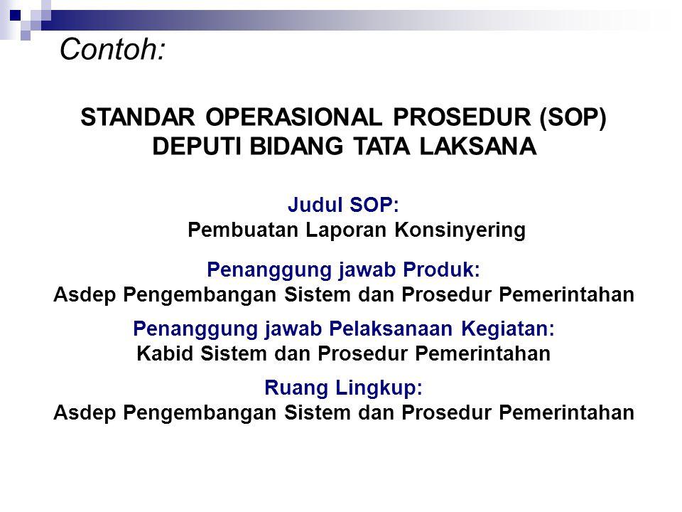Contoh: STANDAR OPERASIONAL PROSEDUR (SOP) DEPUTI BIDANG TATA LAKSANA Judul SOP: Pembuatan Laporan Konsinyering Penanggung jawab Produk: Asdep Pengemb