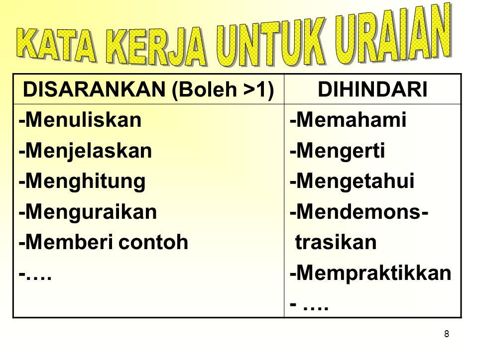 28 2.Pilihan jawaban harus homogen dan logis 2. Yang bukan merupakan rukun Haji adalah….