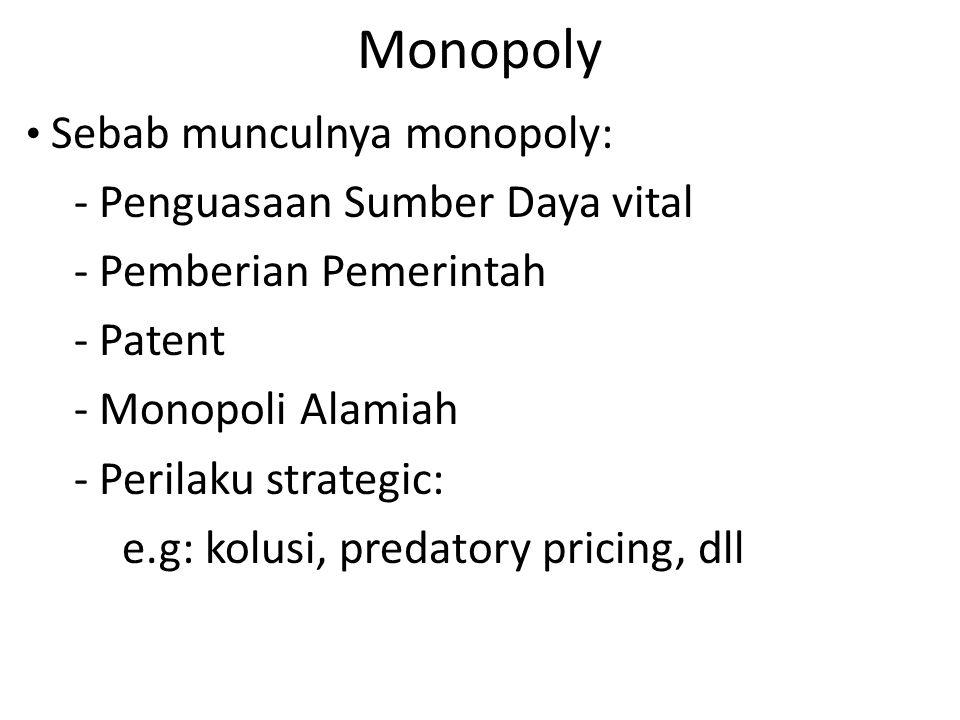 Monopoly Sebab munculnya monopoly: - Penguasaan Sumber Daya vital - Pemberian Pemerintah - Patent - Monopoli Alamiah - Perilaku strategic: e.g: kolusi