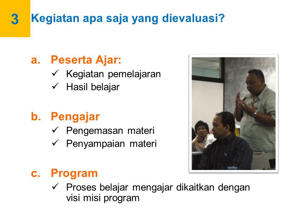 Berdasarkan kegiatan-kegiatan tersebut, berikut ini ialah unsur-unsur yang diperlukan untuk membangun sistem evaluasi: 1.Merencanakan evaluasi dari situasi atau konteks penyelenggaraan program; 2.Merencanakan evaluasi input (SDM, sarana, dan prasarana); 3.Merencanakan pengamatan (monitoring) dari penerapan aktivitas belajar mengajar; 4.Merencanakan evaluasi peserta ajar (output).