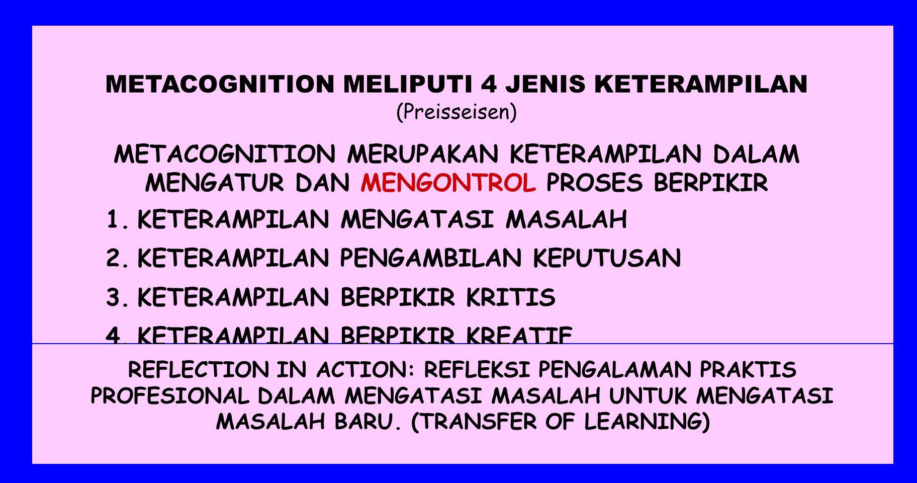 LATAR BELAKANG STRATEGI KOGNITIF SK B ERDASARKAN PARADIGMA KONSTRUKTIVISME, TEORI META COGNITION DAN REFLECTION IN ACTION 1.KEPERCAYAAN, NILAI, DAN NORMA, MOTIVASI, PENGETAHUAN, DAN KETERAMPILAN SESEORANG, SANGAT BERPENGARUH TERHADAP STRATEGI DAN KEMAMPUAN MENGHADAPI ATAU MEMECAHKAN PERMASALAHANNYA 2.PERMASALAHAN YANG DIHADAPI SETIAP ORANG TIDAK TERLEPAS DARI KONTEKSNYA 3.STRATEGI DAN KEMAMPUAN SESEORANG DALAM MENGHADAPI MASALAH ITU ADALAH UNIK 4.POLA DASAR STRATEGI ITU DAPAT DIPELAJARI
