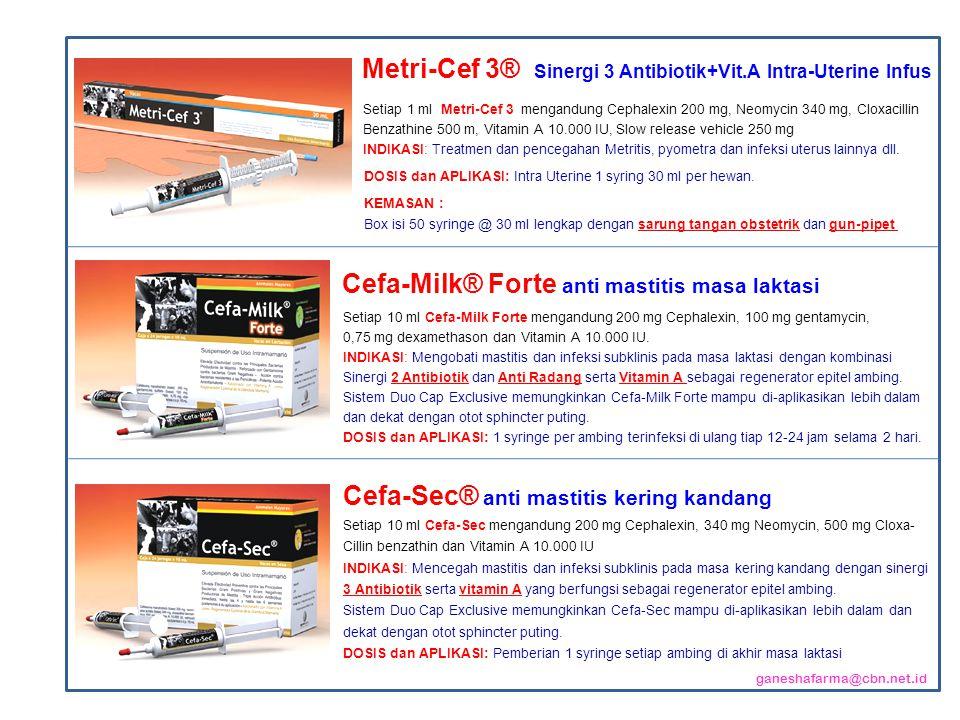 Cefa-Milk® Forte anti mastitis masa laktasi Setiap 10 ml Cefa-Milk Forte mengandung 200 mg Cephalexin, 100 mg gentamycin, 0,75 mg dexamethason dan Vitamin A 10.000 IU.