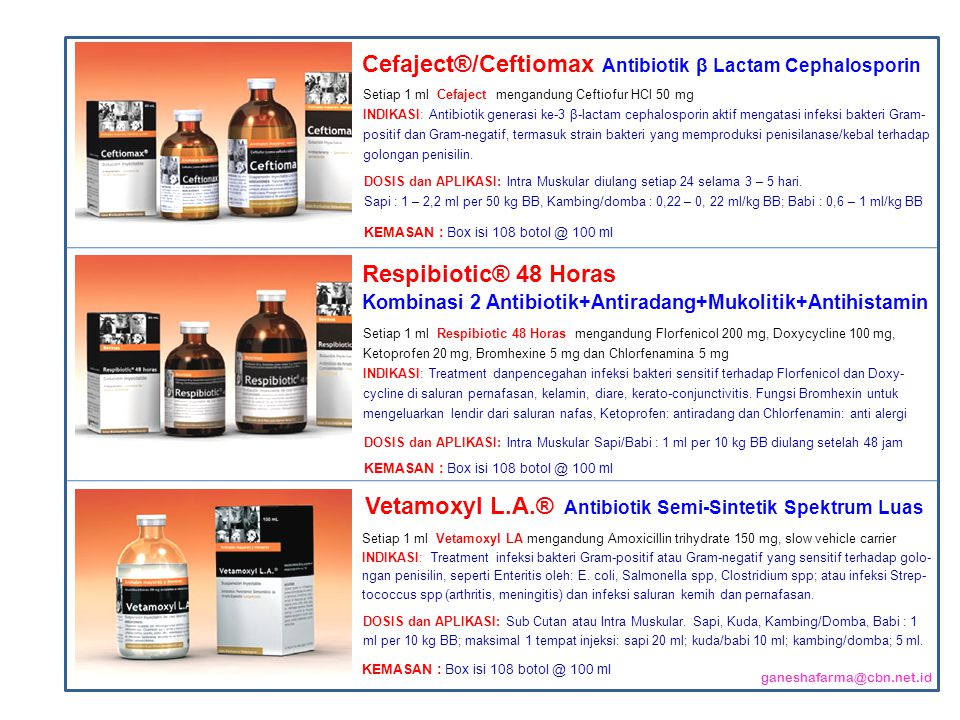 Setiap 1 ml Cefaject mengandung Ceftiofur HCl 50 mg INDIKASI: Antibiotik generasi ke-3 β-lactam cephalosporin aktif mengatasi infeksi bakteri Gram- po