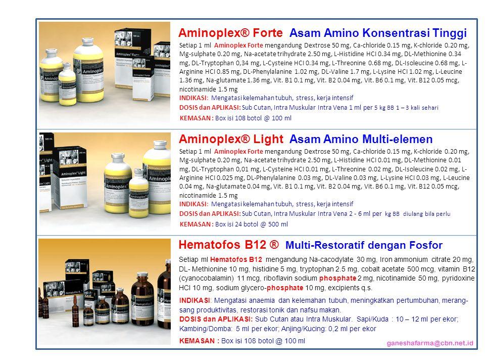 Setiap 1 ml Aminoplex Forte mengandung Dextrose 50 mg, Ca-chloride 0.15 mg, K-chloride 0.20 mg, Mg-sulphate 0.20 mg, Na-acetate trihydrate 2.50 mg, L-Histidine HCI 0.34 mg, DL-Methionine 0.34 mg, DL-Tryptophan 0,34 mg, L-Cysteine HCI 0.34 mg, L-Threonine 0.68 mg, DL-Isoleucine 0.68 mg, L- Arginine HCI 0.85 mg, DL-Phenylalanine 1.02 mg, DL-Valine 1.7 mg, L-Lysine HCI 1.02 mg, L-Leucine 1.36 mg, Na-glutamate 1.36 mg, Vit.