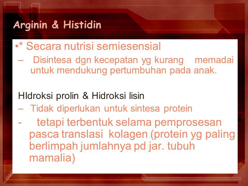 Arginin & Histidin * Secara nutrisi semiesensial – Disintesa dgn kecepatan yg kurang memadai untuk mendukung pertumbuhan pada anak.