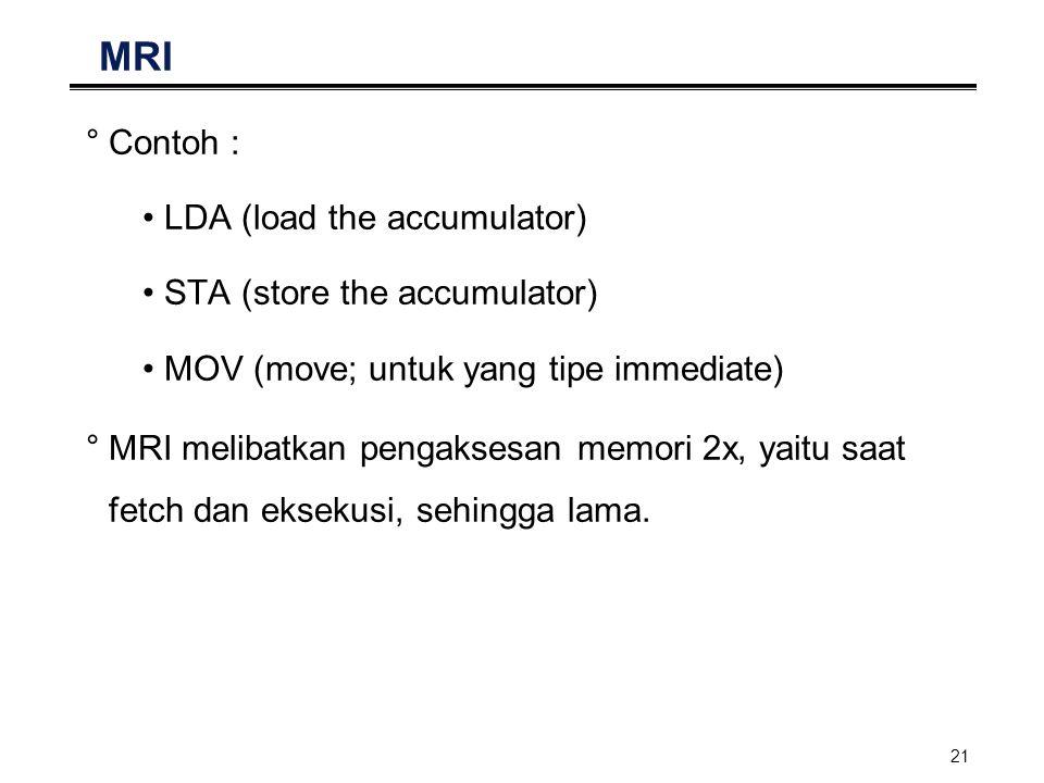 21 MRI °Contoh : LDA (load the accumulator) STA (store the accumulator) MOV (move; untuk yang tipe immediate) °MRI melibatkan pengaksesan memori 2x, y