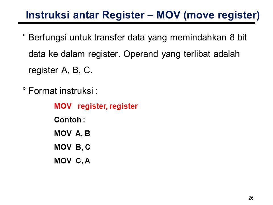 26 Instruksi antar Register – MOV (move register) °Berfungsi untuk transfer data yang memindahkan 8 bit data ke dalam register. Operand yang terlibat