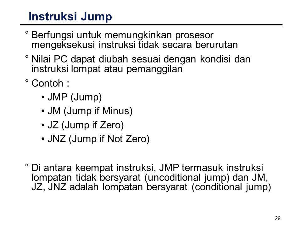 29 Instruksi Jump °Berfungsi untuk memungkinkan prosesor mengeksekusi instruksi tidak secara berurutan °Nilai PC dapat diubah sesuai dengan kondisi da