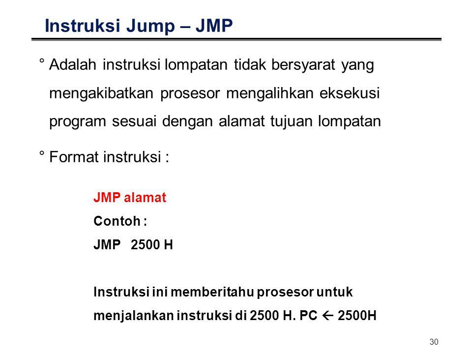 30 Instruksi Jump – JMP °Adalah instruksi lompatan tidak bersyarat yang mengakibatkan prosesor mengalihkan eksekusi program sesuai dengan alamat tujua