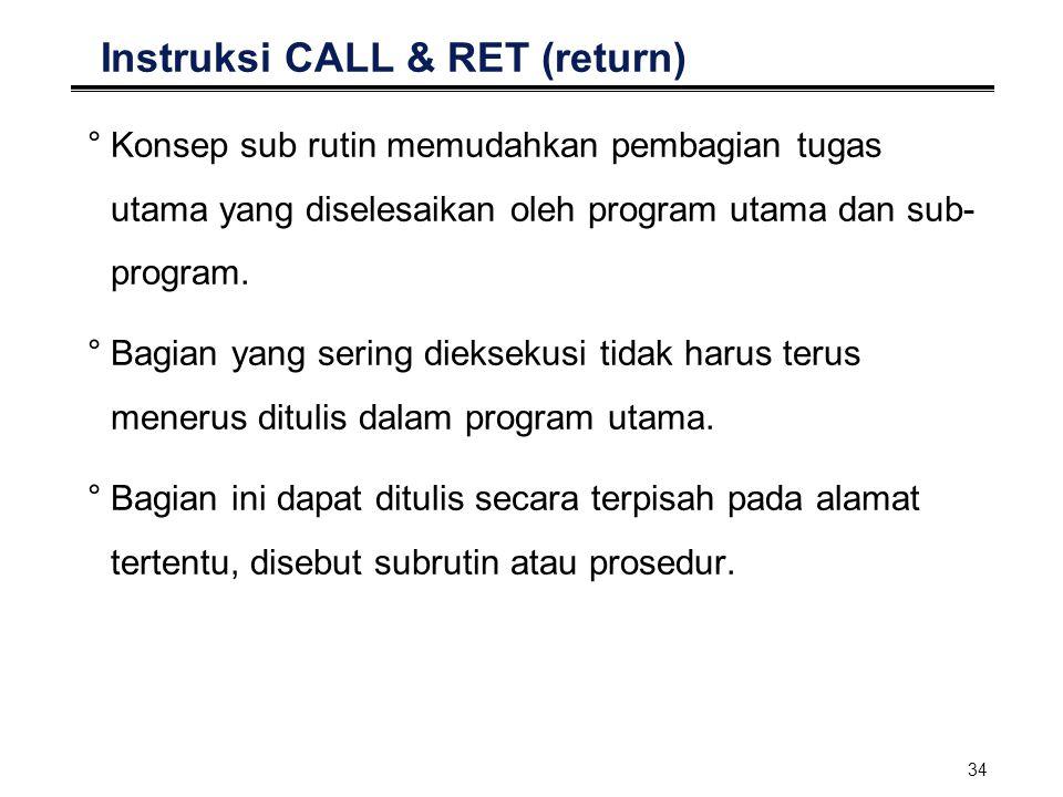 34 Instruksi CALL & RET (return) °Konsep sub rutin memudahkan pembagian tugas utama yang diselesaikan oleh program utama dan sub- program. °Bagian yan