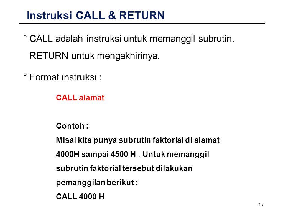 35 Instruksi CALL & RETURN °CALL adalah instruksi untuk memanggil subrutin. RETURN untuk mengakhirinya. °Format instruksi : CALL alamat Contoh : Misal