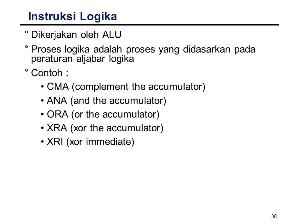 38 Instruksi Logika °Dikerjakan oleh ALU °Proses logika adalah proses yang didasarkan pada peraturan aljabar logika °Contoh : CMA (complement the accu
