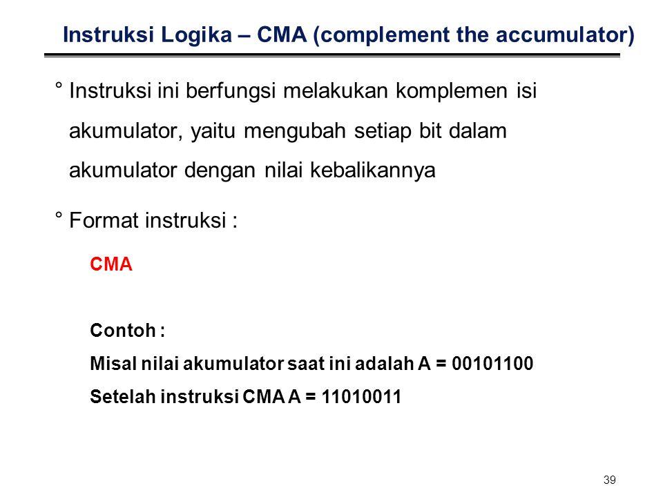 39 Instruksi Logika – CMA (complement the accumulator) °Instruksi ini berfungsi melakukan komplemen isi akumulator, yaitu mengubah setiap bit dalam ak
