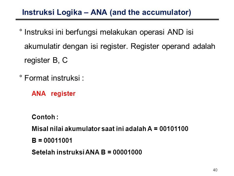40 Instruksi Logika – ANA (and the accumulator) °Instruksi ini berfungsi melakukan operasi AND isi akumulatir dengan isi register. Register operand ad