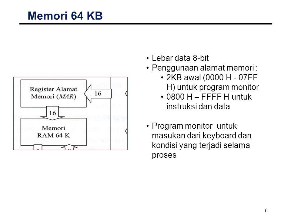 6 Memori 64 KB Lebar data 8-bit Penggunaan alamat memori : 2KB awal (0000 H - 07FF H) untuk program monitor 0800 H – FFFF H untuk instruksi dan data P