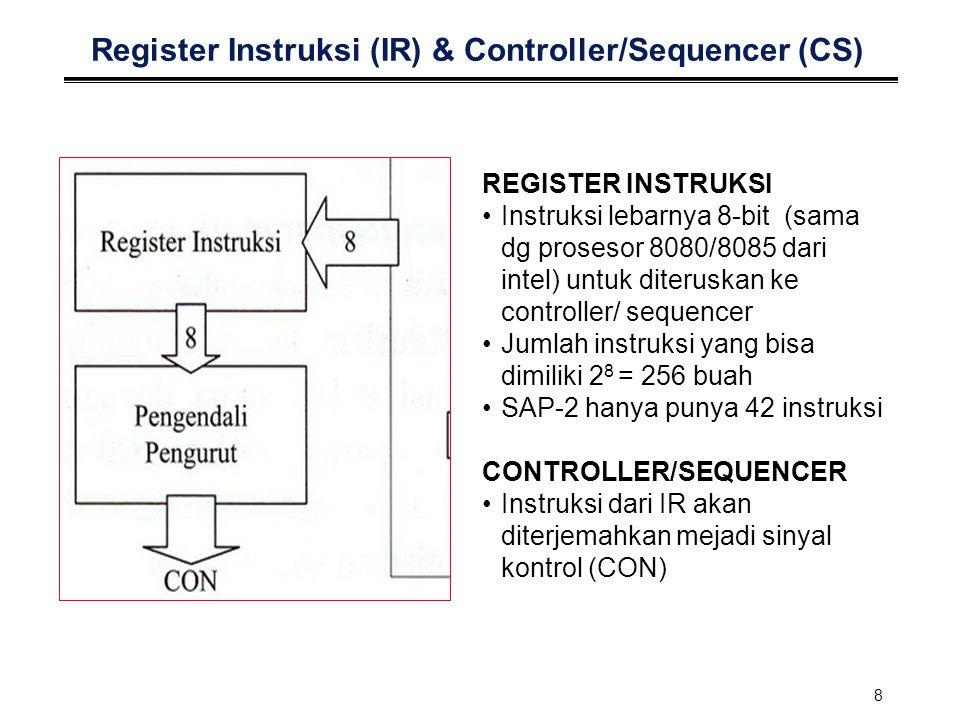 8 Register Instruksi (IR) & Controller/Sequencer (CS) REGISTER INSTRUKSI Instruksi lebarnya 8-bit (sama dg prosesor 8080/8085 dari intel) untuk diteru