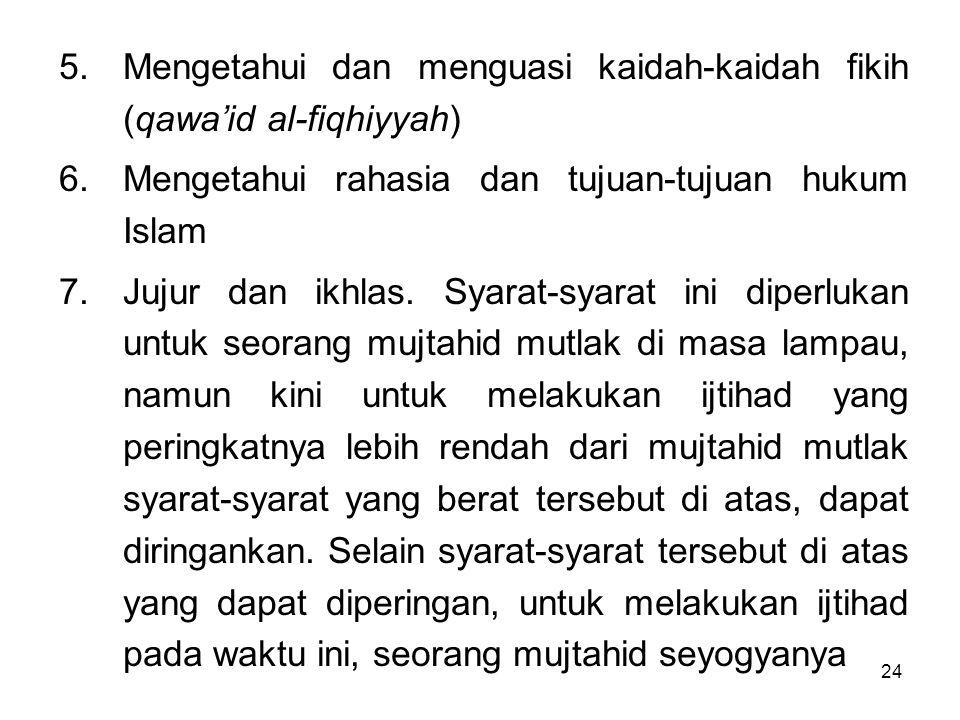 24 5.Mengetahui dan menguasi kaidah-kaidah fikih (qawa'id al-fiqhiyyah) 6.Mengetahui rahasia dan tujuan-tujuan hukum Islam 7.Jujur dan ikhlas. Syarat-