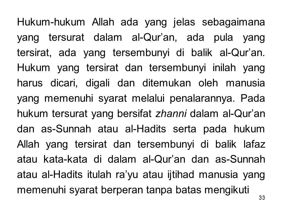 33 Hukum-hukum Allah ada yang jelas sebagaimana yang tersurat dalam al-Qur'an, ada pula yang tersirat, ada yang tersembunyi di balik al-Qur'an. Hukum