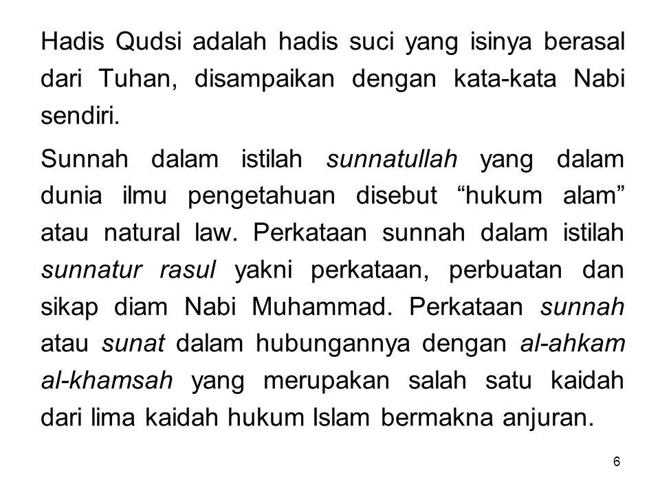 6 Hadis Qudsi adalah hadis suci yang isinya berasal dari Tuhan, disampaikan dengan kata-kata Nabi sendiri. Sunnah dalam istilah sunnatullah yang dalam